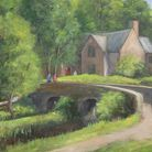A painting by local artist Richard Holland of the bridge at Milldale