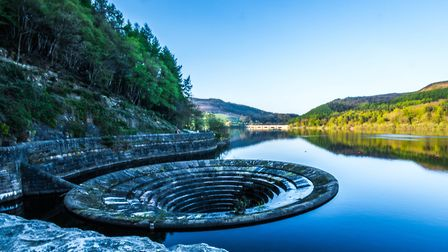 The shaft spillway, or 'plug hole' which drains excess water at Ladybower
