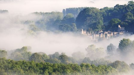 Haddon Hall shrouded in mist