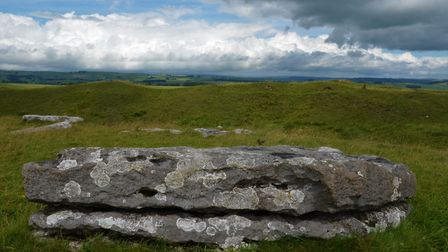 One of the once-upright stones at Arbor Low