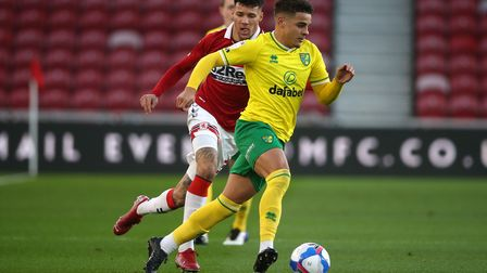 Marvin Johnson of Middlesbrough and Max Aarons of Norwich in action during the Sky Bet Championship