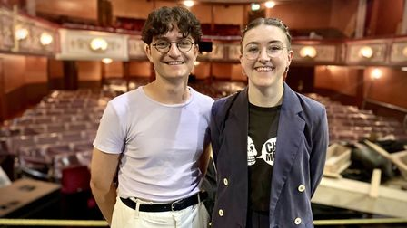 Toby Marlow and Lucy Moss on stage at the Lyric Theatre