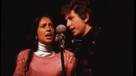 Joan Baez and Bob Dylan at the Newport Folk Festival July 24, 1964 both guested on each other's sets