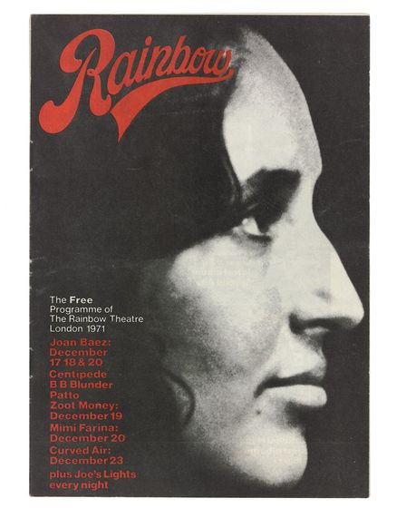 Program from Joan Baezs Rainbow Theatre season in December 1971.