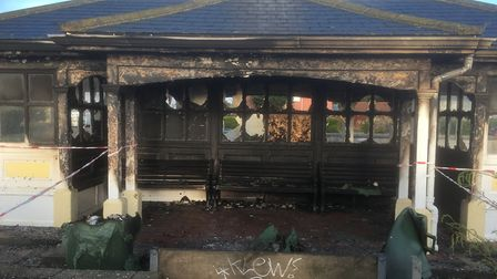 Fire caused severe damage to the historic shelter on Felixstowe prom Picture: RICHARD CORNWELL