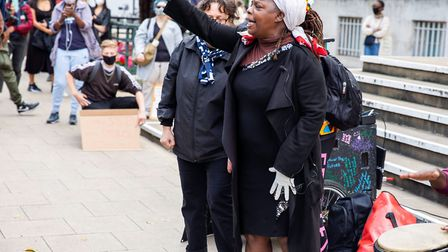 Founder of Sistah Space Ngozi Fulani speaks about premises dispute at a protest on July 10. Picture: