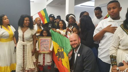 The Mayor of Hackney, Phillip Glanville, at a Sistah Space event celebrating Ethiopian Christmas ear