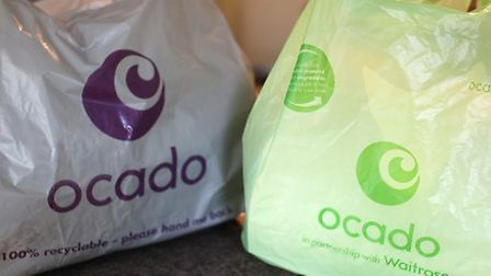 A general view of some bags from the home delivery company Ocado. Picture: Katie Collins/ PA