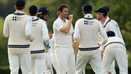 Middlesex's Tim Murtagh (centre) celebrates the wicket of Sussex's Harry Finch during day two of the