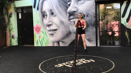 Rhian took up battle rope training as a way to cope after her business closed during the coronavirus