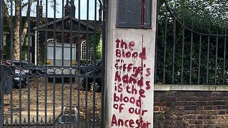 The gates and statue of slave trader Robert Geffrye were damaged and a message graffitied calling ou