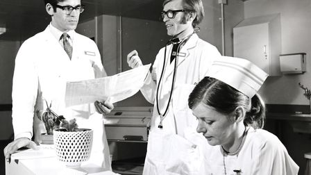 Doctors at Northwick Park Hospital when it opened in 1970. Picture: LNWH
