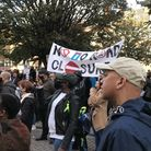 People gathered outside Hackney Town Hall on October 1 to protest road closures and traffic restrict