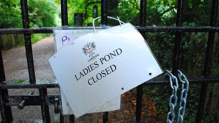 Kenwood Ladies' Bathing Pond was closed on Sunday. Picture: Polly Hancock
