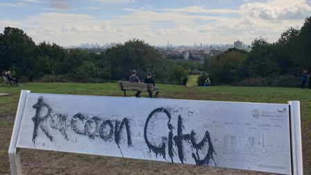 The graffitied landmarks guide at the top of Parliament Hill, on Hampstead Heath. Picture: Harry Taylor