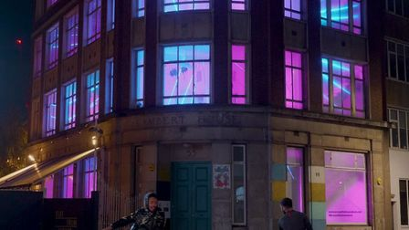Light installation Scream the House Down by Marcus Lyall, who features on the Join the Docks festiva