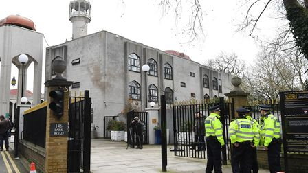 Police outside of the London Central Mosque in Regent's Park after Raafat Maglad was attacked by Daniel Horton. Picture: PA
