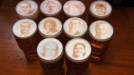 Beer featuring the faces of Jonathan Bartley (Green Party), Boris Johnson (Conservatives), Arlene Fo