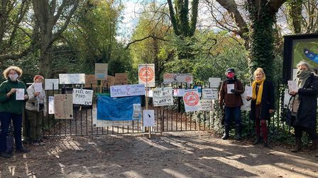 Protesters from the Save Our Ponds campaign on Sunday at the ladies' pond. Picture: 'Forum 71
