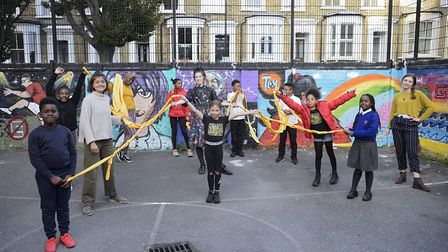 Hackney young people with artist Helena Doyle. Picture: Christian Sinibaldi