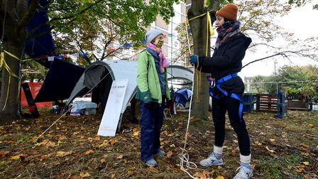 Protesters are still determined to prevent developers chopping down the trees at Dixon Clark Court.
