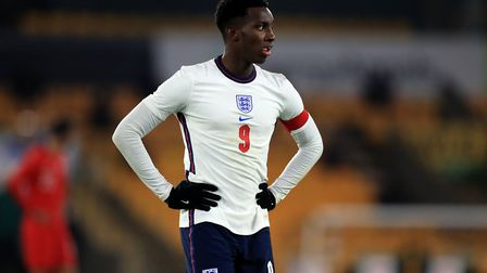 England's Eddie Nketiah during the UEFA Euro 2021 Under-21 Qualifying Group 3 match at Molineux, Wol