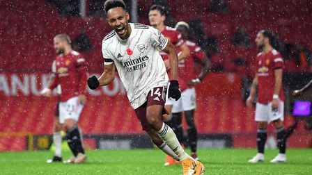 Arsenal's Pierre-Emerick Aubameyang celebrates scoring his side's first goal of the game from the pe