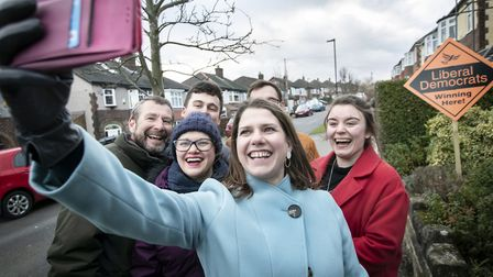 Liberal Democrat Leader Jo Swinson canvassing door to door with activists during a visit to Sheffiel