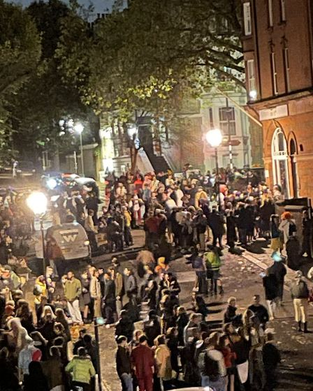 A huge 'illegal rave' at the old Hampstead Police station on Halloween 2020. Picture: Jamie Edwards