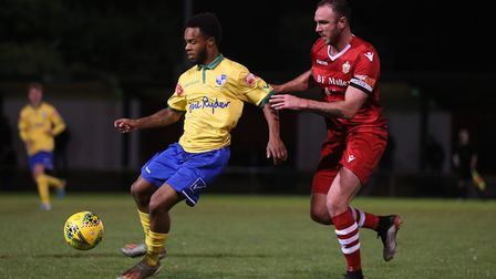 Mauro Vilhete of Wingate & Finchley and Matt Johnson of Hornchurch during Hornchurch vs Wingate & Fi