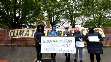 Campaigners next to the trees in Dixon Clark Court that are facing the chop. Picture: Polly Hancock