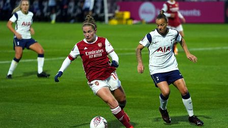 Arsenal's Kim Little (centre) in action during the Barclays FA WSL match at Meadow Park, London.