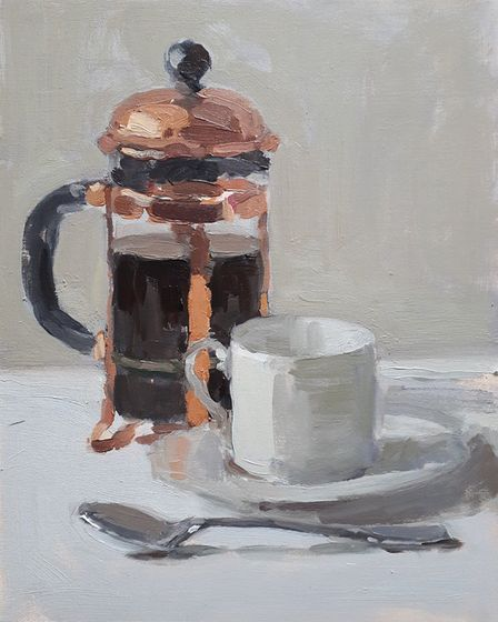 First Coffee of the Morning oil on board 30x24cm by Lotta Teale