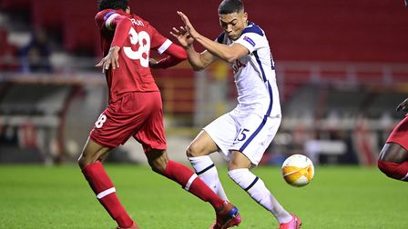 Antwerp's Faris Haroun and Tottenham's Carlos Vinicius battle for the ball during the UEFA Europa Le