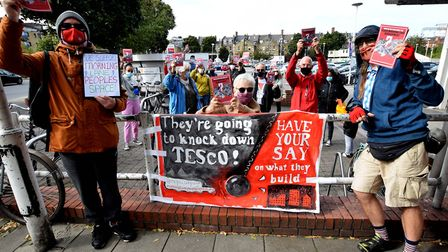 Campaigners from Morning Lane People's Space pictured outside the Tesco supermarket at 55 Morning La