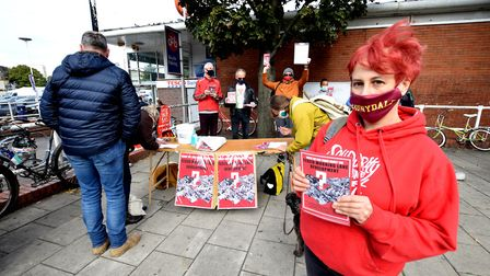 Heather Mendick from the Morning Lane People's Space (MOPS) campaign outside Tesco in Morning Lane.