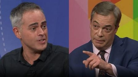 Jonathan Bartley from the Greens and Nigel Farage from the Brexit Party. Photograph: BBC.