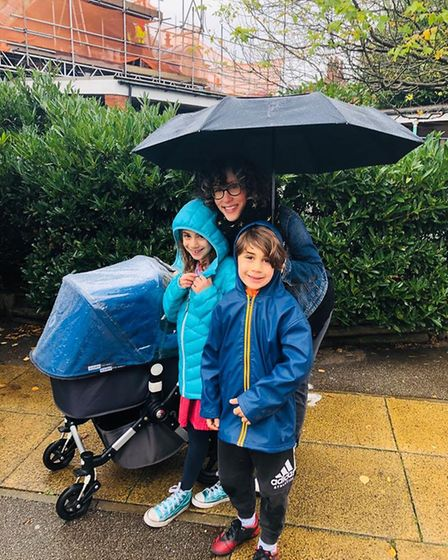Lyla and Noah Rees with mum Jessica at Mora Primary School which is giving out free hot meals during half term. Picture: Kate...
