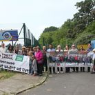 Residents protesting against the Powerleague plans. Picture: Debbie Nyman