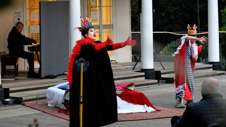 From left at the piano: Musical director Stephen Hose, Jo Wickham as the evil Queen Sorib and Madele