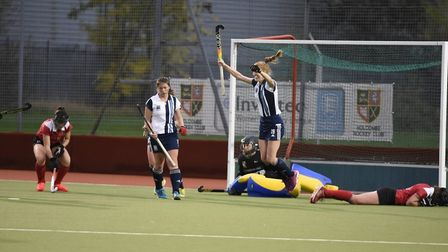 Hampstead & Westminster's Nicola White scoring a last minute winner (Pic:Theresa Waight)