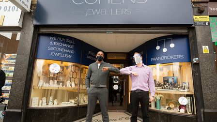 Anthony Joshua (left) returning to his former high street in Temple Fortune with Cohens Jewellers co-owner Robert Cohen. Pict...