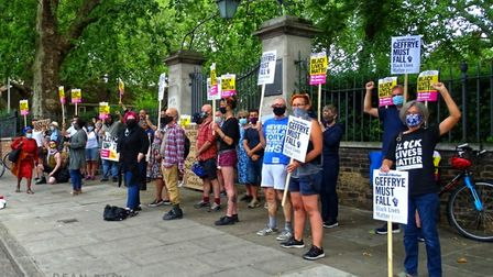 A previous demonstration against the Robert Geffrye statue outside the Museum of the Home. Picture: