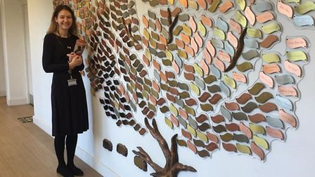 Katharine Ayres with the hospice's Memory Tree. Picture: Saint Francis Hospice