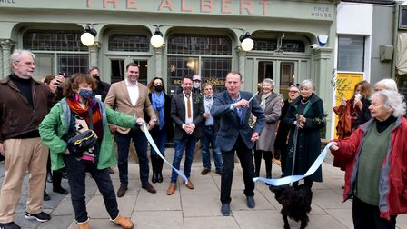 Andrew Marr cuts the ribbon to officially ropen The Albert pub in Primrose Hill on Friday, October 3