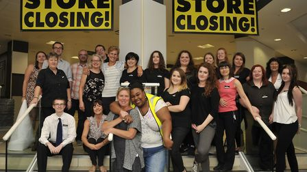 Staff at BHS in Ipswich on the store's last day in 2016 Picture: ARCHANT
