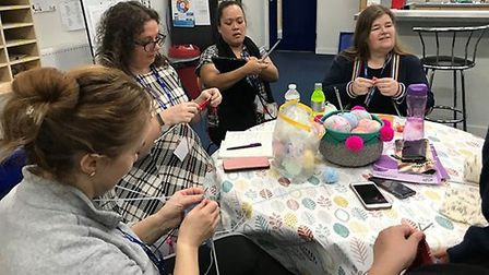 "Ranelagh Primary teachers enjoy one of their weekly ""knit and natter"" sessions. Picture: The Tapscot"