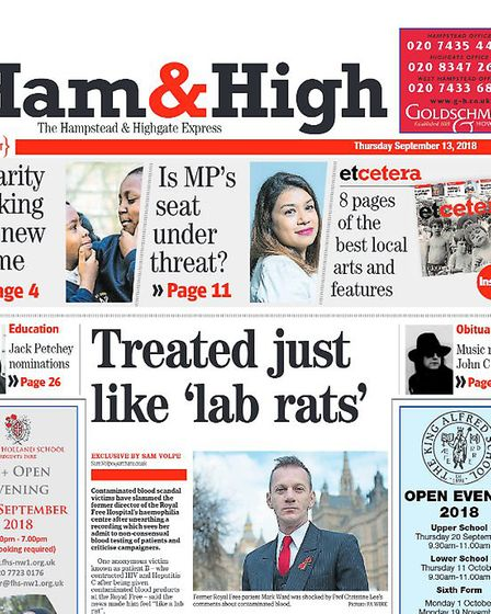 """'Treated like 'lab rats'"""" Ham&High coverage of the contaminated blood scandal in 2018."""