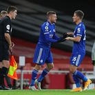 Leicester City's Dennis Praet (right) is replaced by Jamie Vardy