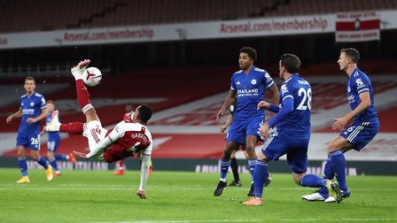 Arsenal's Gabriel Magalhaes attempts an overhead kick during the Premier League match at the Emirate
